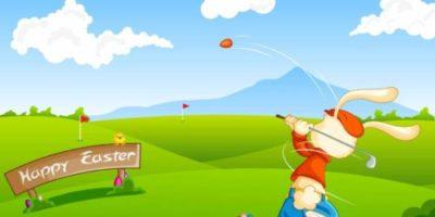 Zeichnung Osterhase spielt Golf