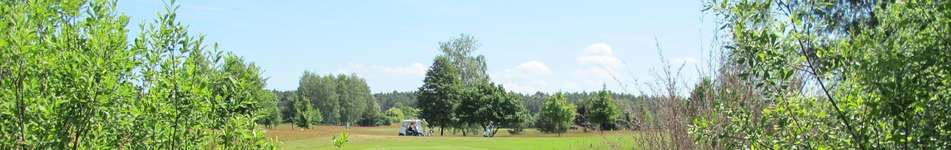 Ein Caddywagen fährt über das Fairway