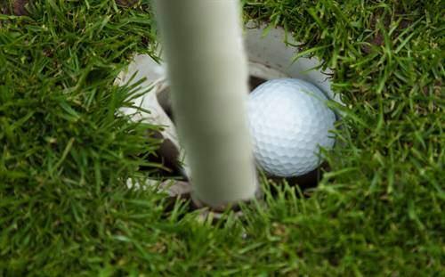 Bild Golfball liegt im Puttingloch in der ein Fahnenstock steckt