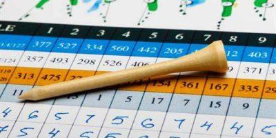 Bild Scorekarte mit aufliegedem hellem Holztee