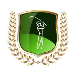 Zeichnung goldene Ähre umringt einen Golfspieler