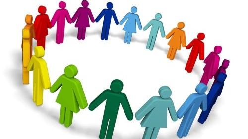 Bild Bunte Zeichnung von männlichen und weiblichen Figuren die sich im Kreis an den Händen halten