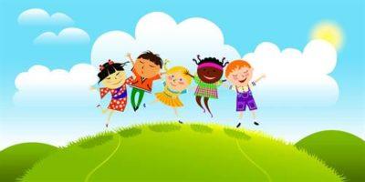 Bild Comiczeichnung Kinder im Gras
